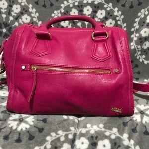 Kate Landry Hot Pink Leather Satchel/Shoulder Bag